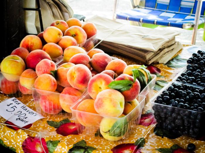 peaches, blueberries