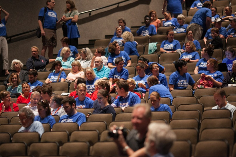 Skyline Auditorium fills with blue